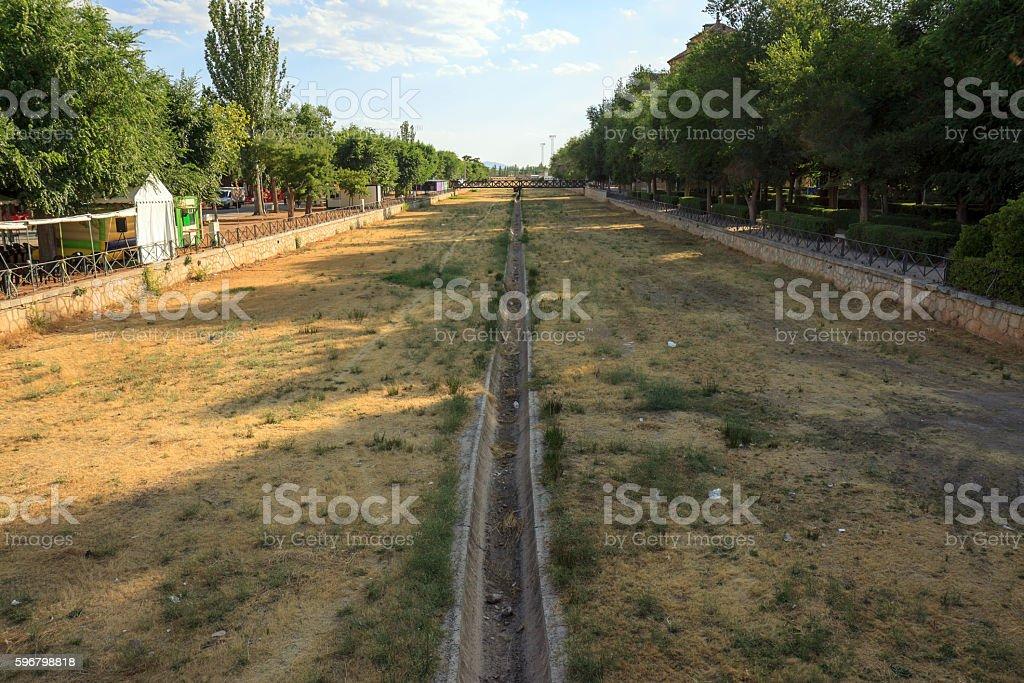 Dry river bed in La Mancha, Central Spain stock photo