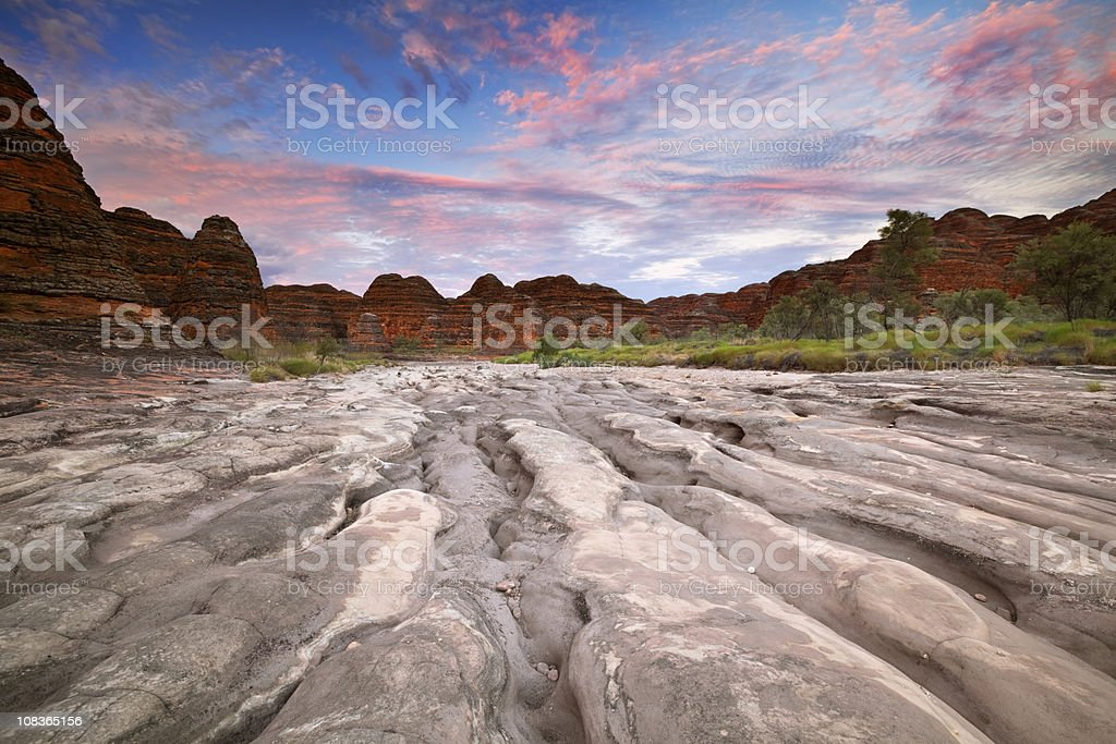 Dry riverbed in Purnululu National Park, Western Australia at sunrise royalty-free stock photo