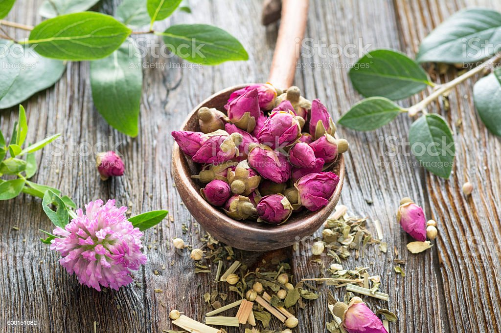 Dry rose tea buds stock photo