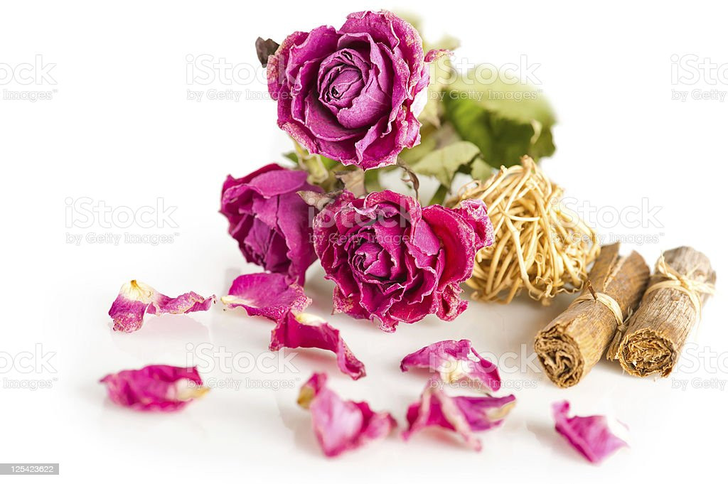 Dry roses and herbs royalty-free stock photo