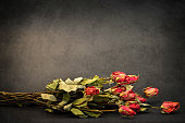 Dry roses on grunge background