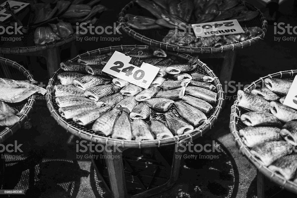 dry sepat siam fish, raw food thailand style stock photo