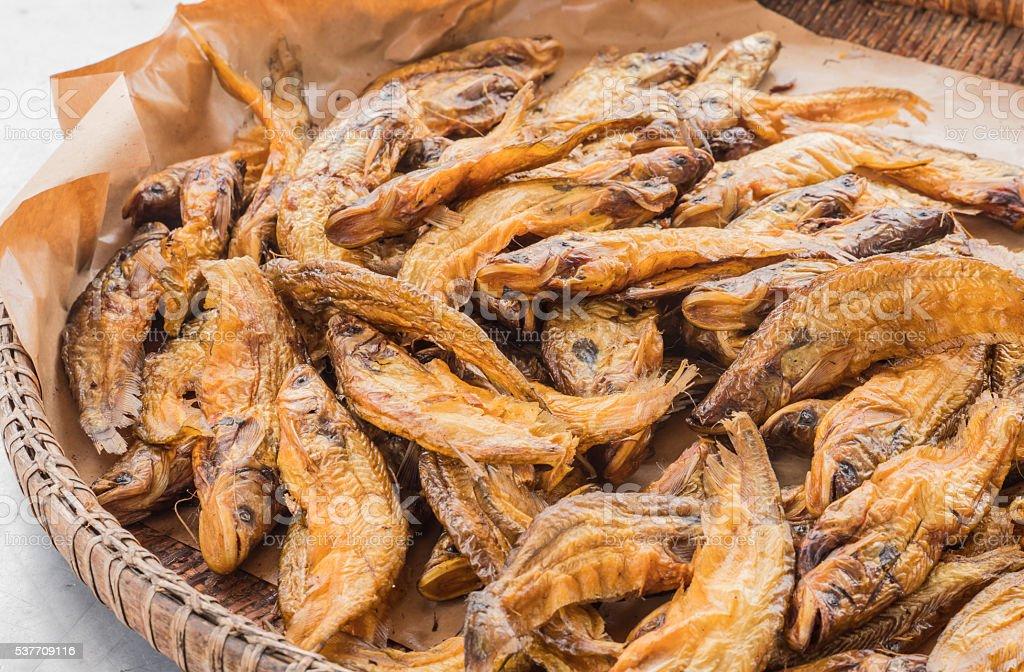 Dry sheafishs in local Thai market. stock photo