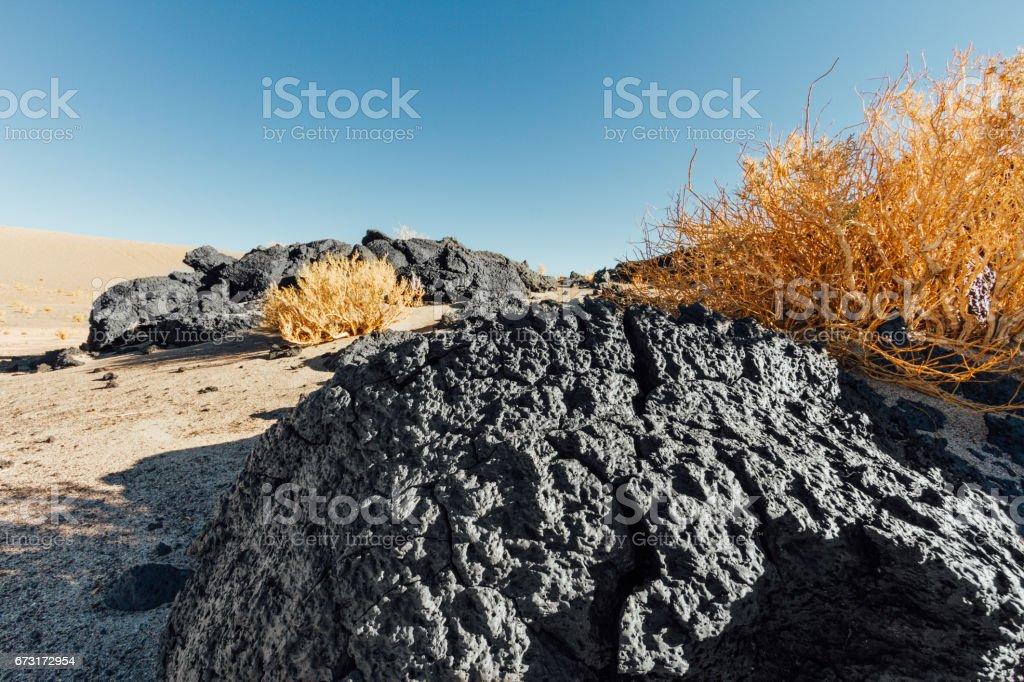 Dry shrubs with dross rocks from Antofagasta Volcano stock photo