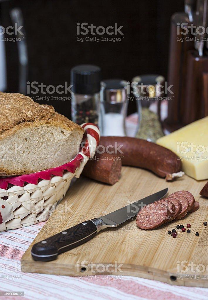 Dry smoked sausage royalty-free stock photo