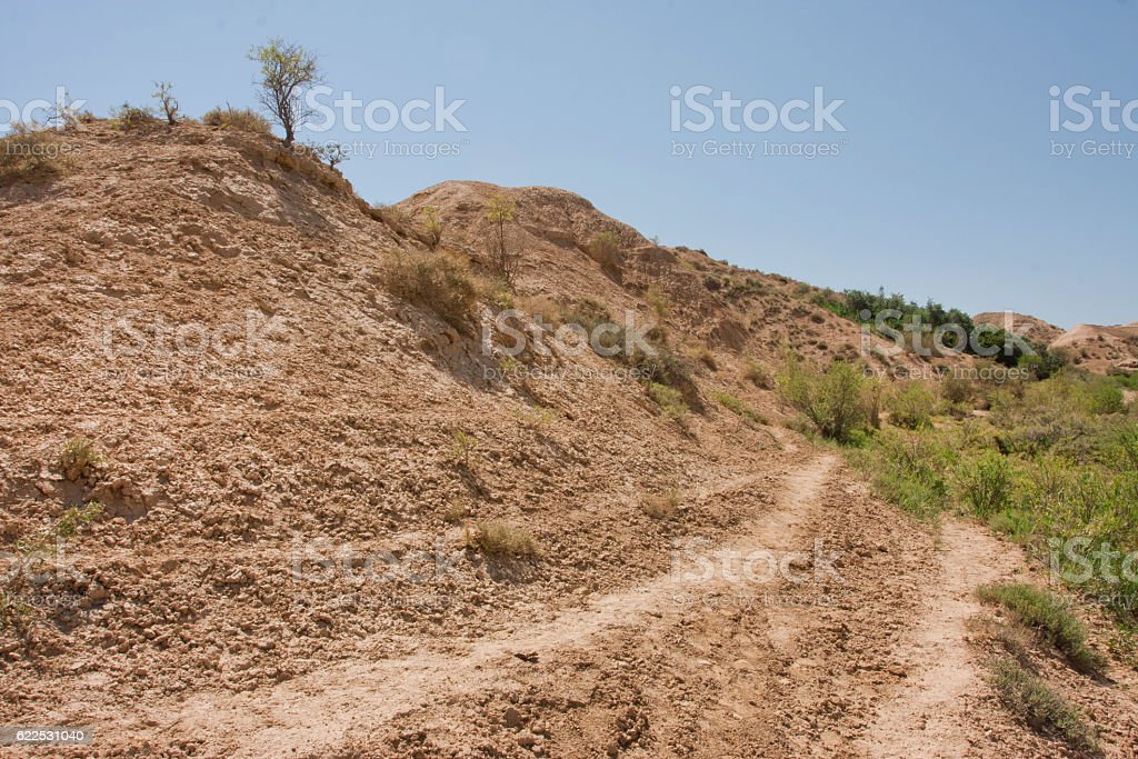 Dry soil hill of mountain plateau stock photo