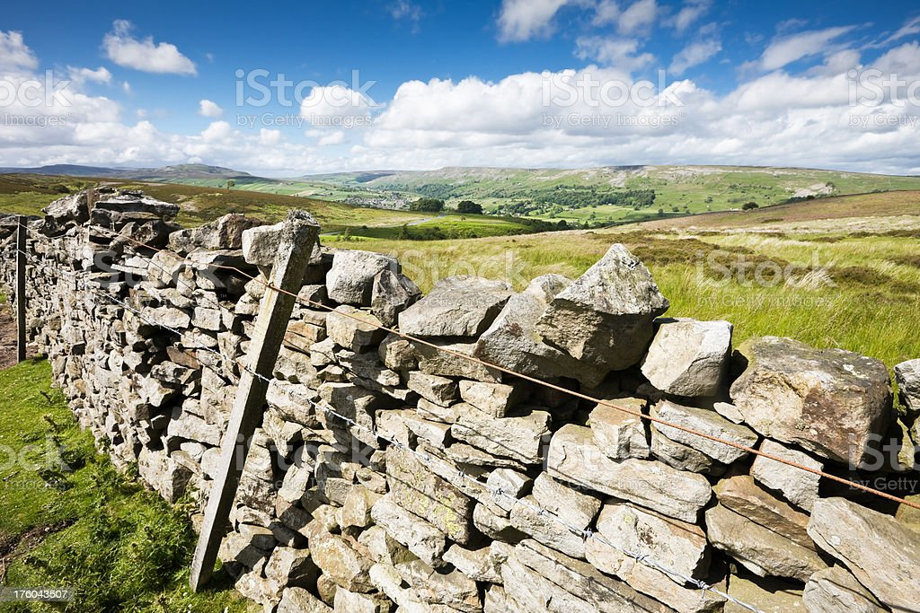Dry Stone Wall and Yorkshire Countryside royalty-free stock photo