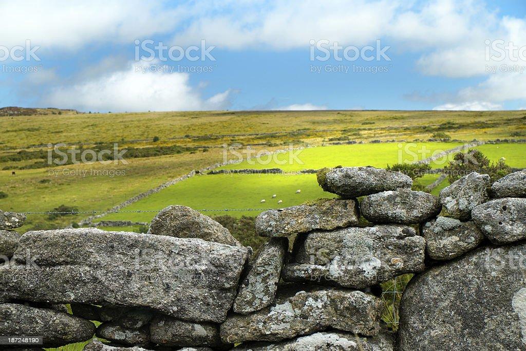 Dry Stone Wall In Dartmoor, Devon royalty-free stock photo