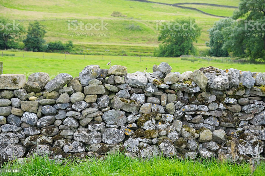 Dry Stone Wall in Yorkshire Dales stock photo