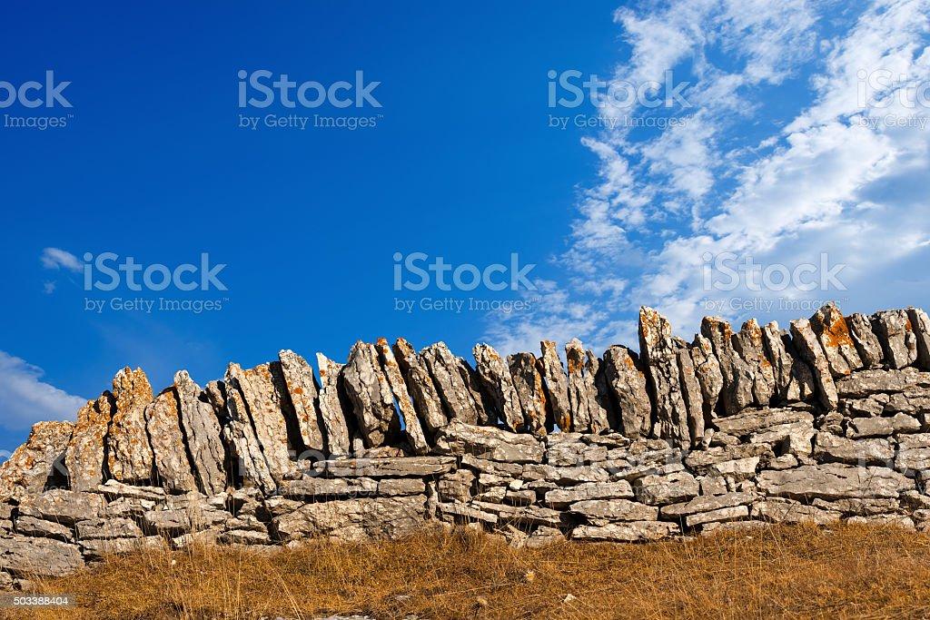 Dry Stone Wall - Lessinia Italy stock photo