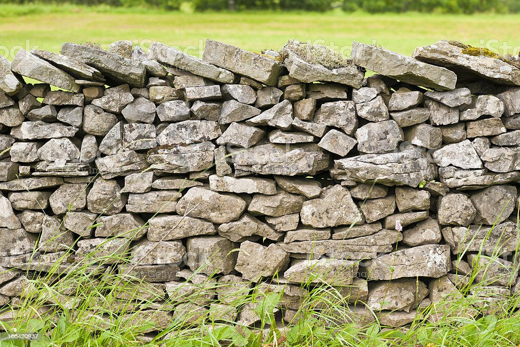 Dry Stone Wall with Lichen and Moss stock photo