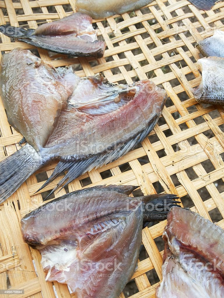 dry striped snakehead fish raw food stock photo