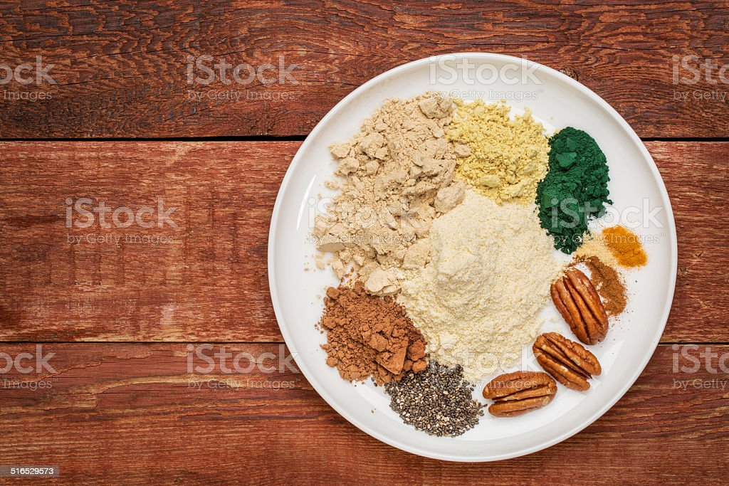 dry superfood smoothie ingredients stock photo
