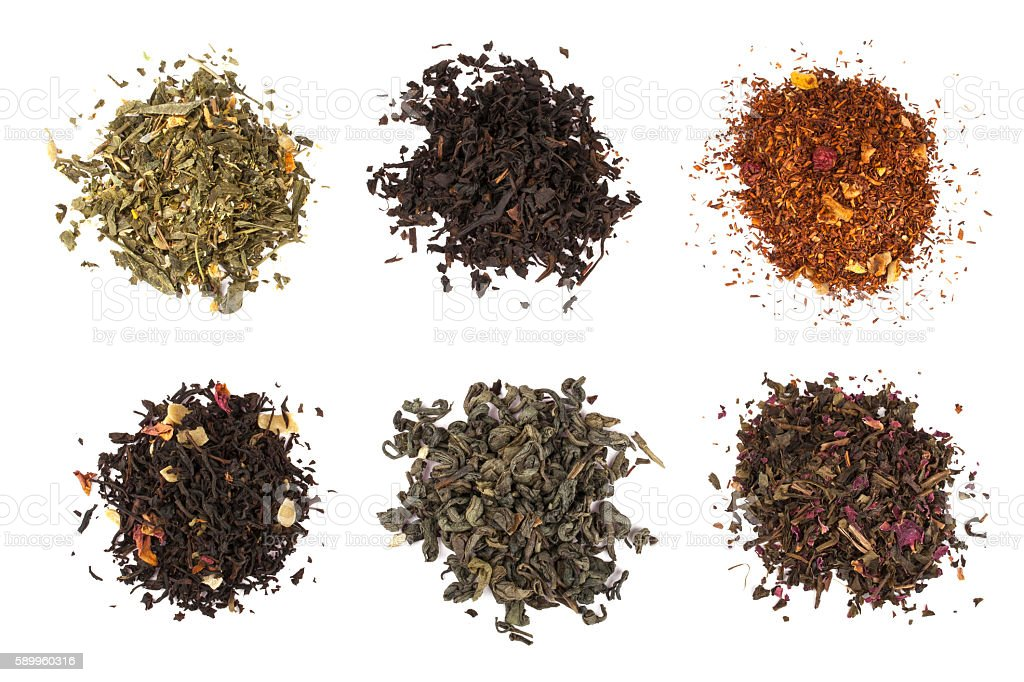 Dry tea collection isolated on white background stock photo