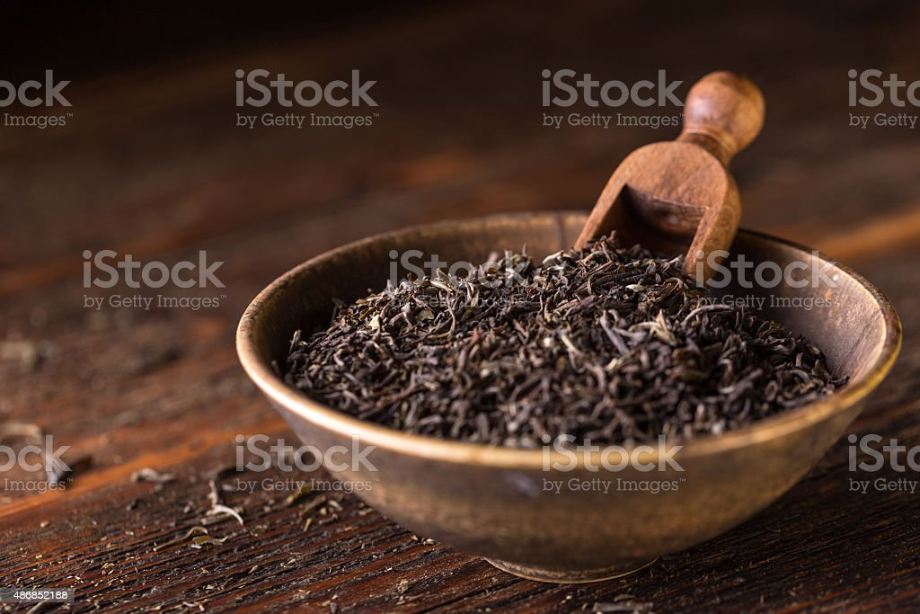 Dry tea leaf stock photo