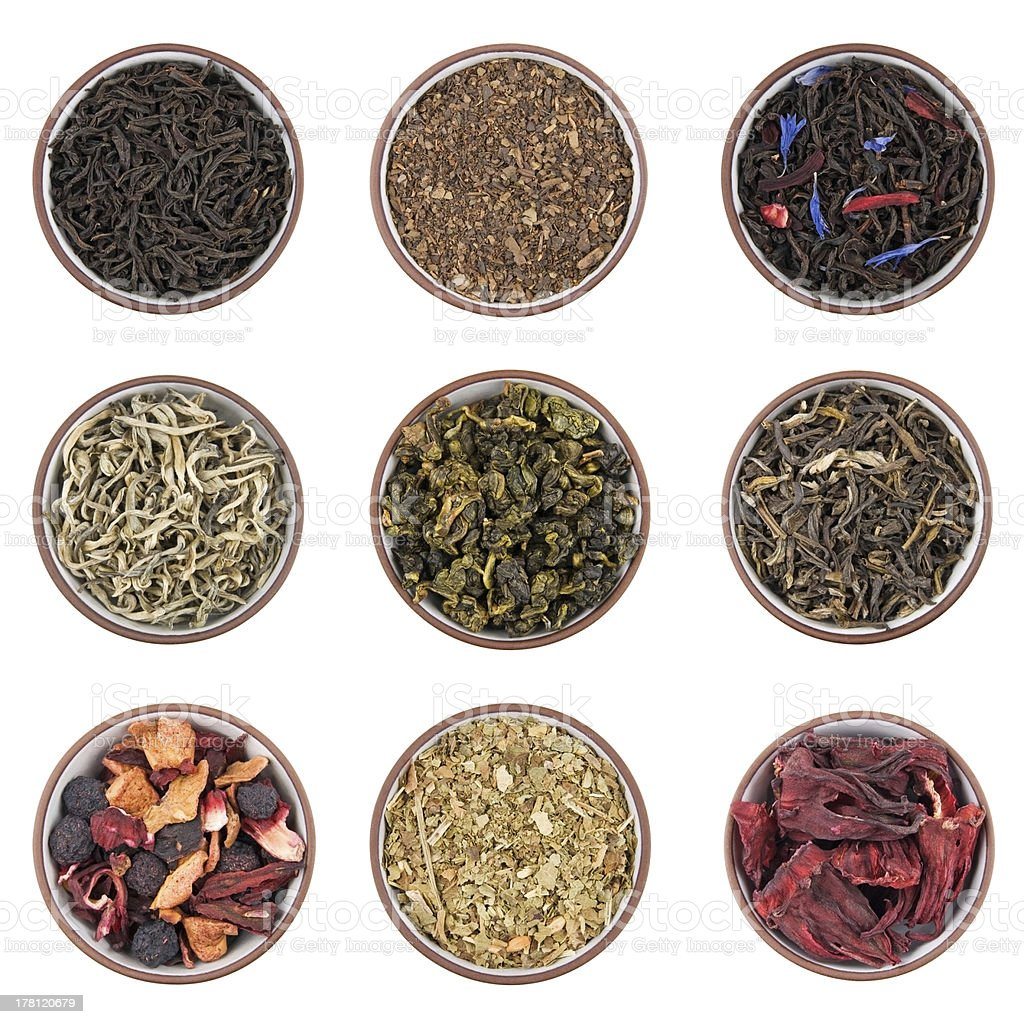 Dry tea sorts stock photo