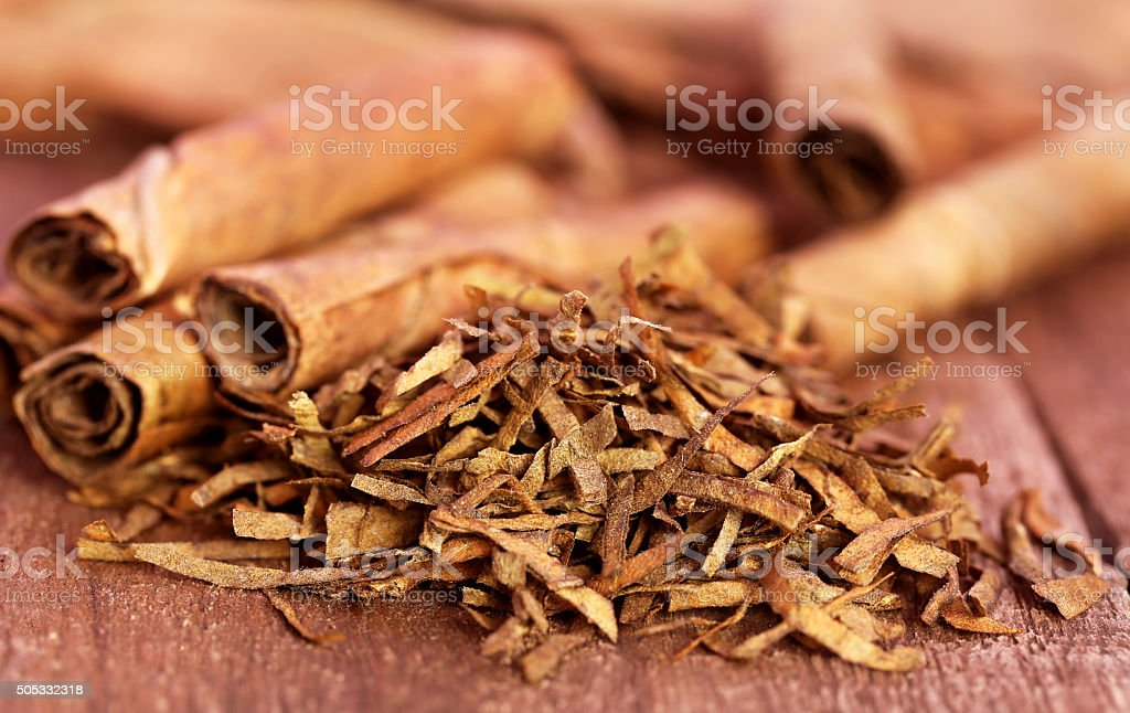 Dry tobacco leaves stock photo