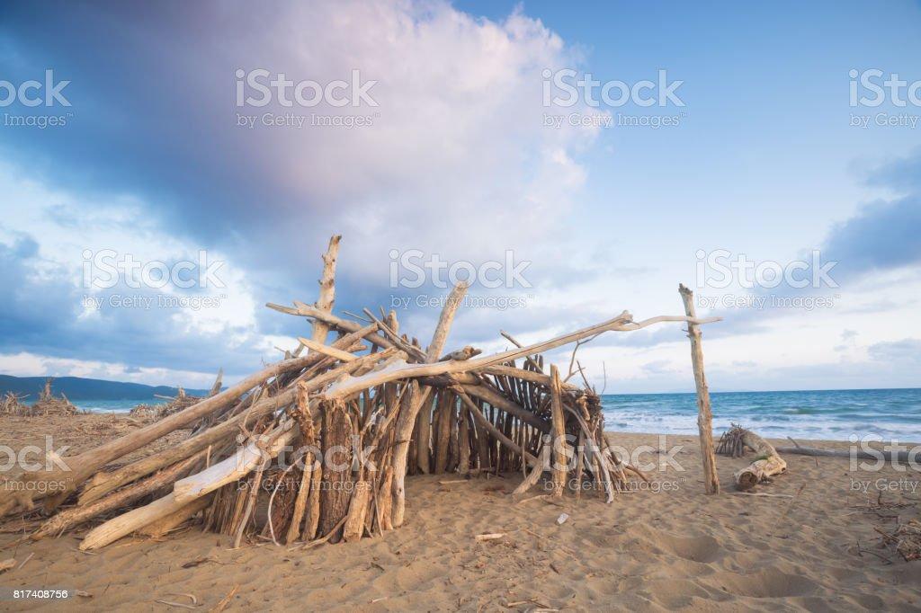 dry wood hut in Marina di Alberese, tuscany, italy, Maremma Park stock photo
