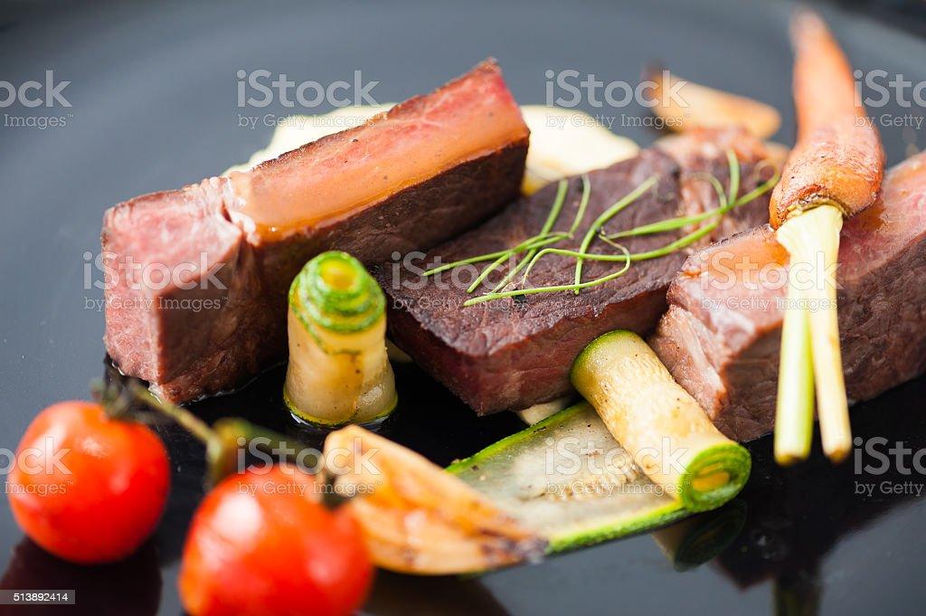 Dry-aged beef steak stock photo