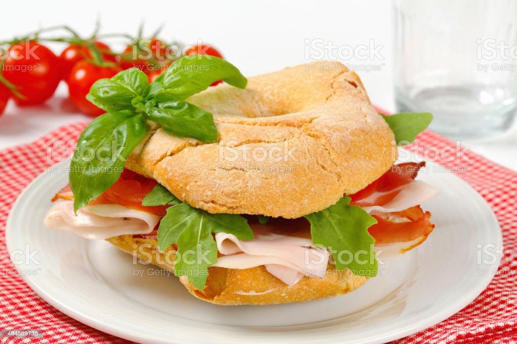 Dry-cured ham sandwich stock photo