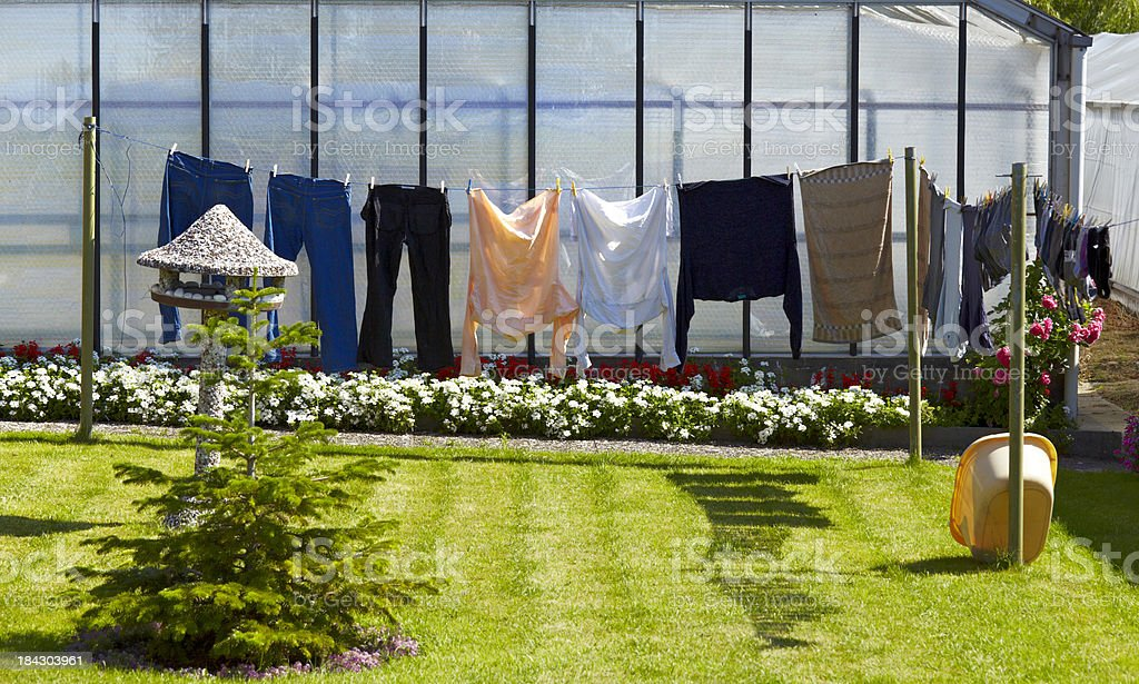 Drying clothes in the garden on the clothesline royalty-free stock photo