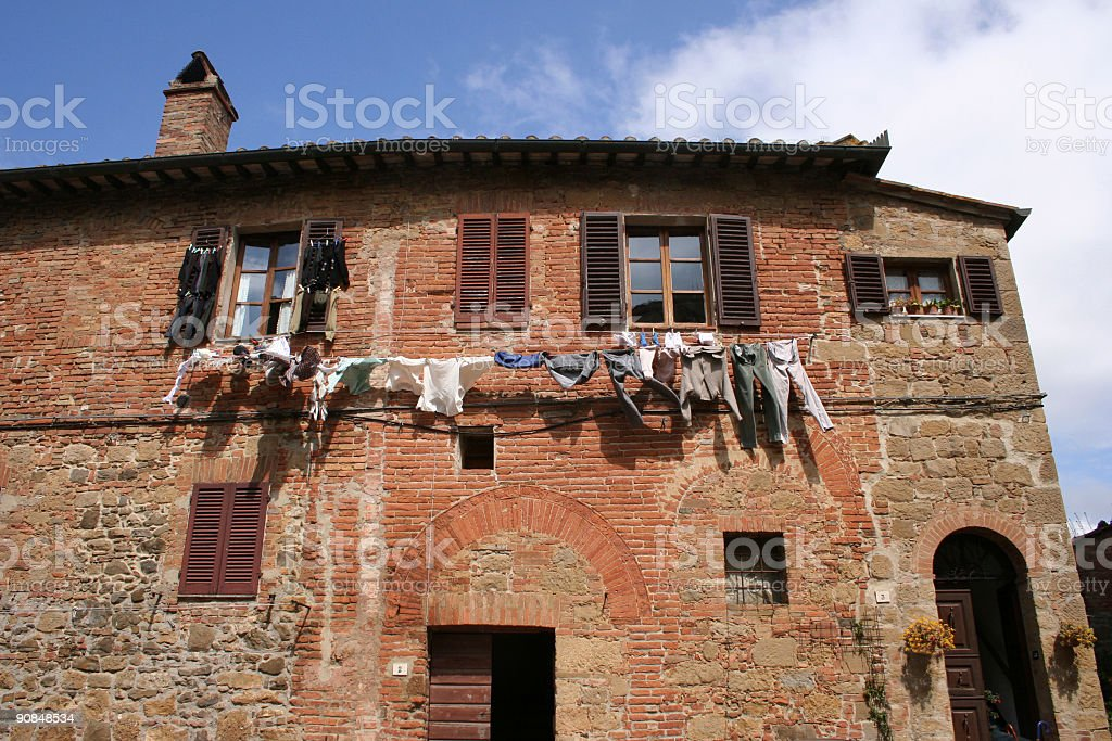 Drying clothes in Tuscany royalty-free stock photo