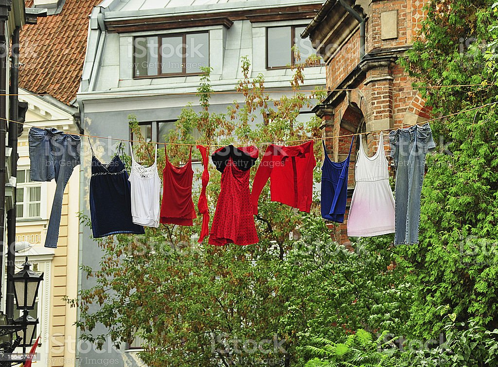 drying clothes on a rope royalty-free stock photo