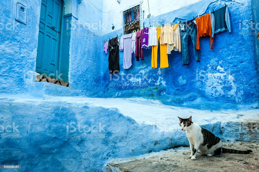 Drying clothes on the streets Chefchaouen, Morocco,North Africa stock photo