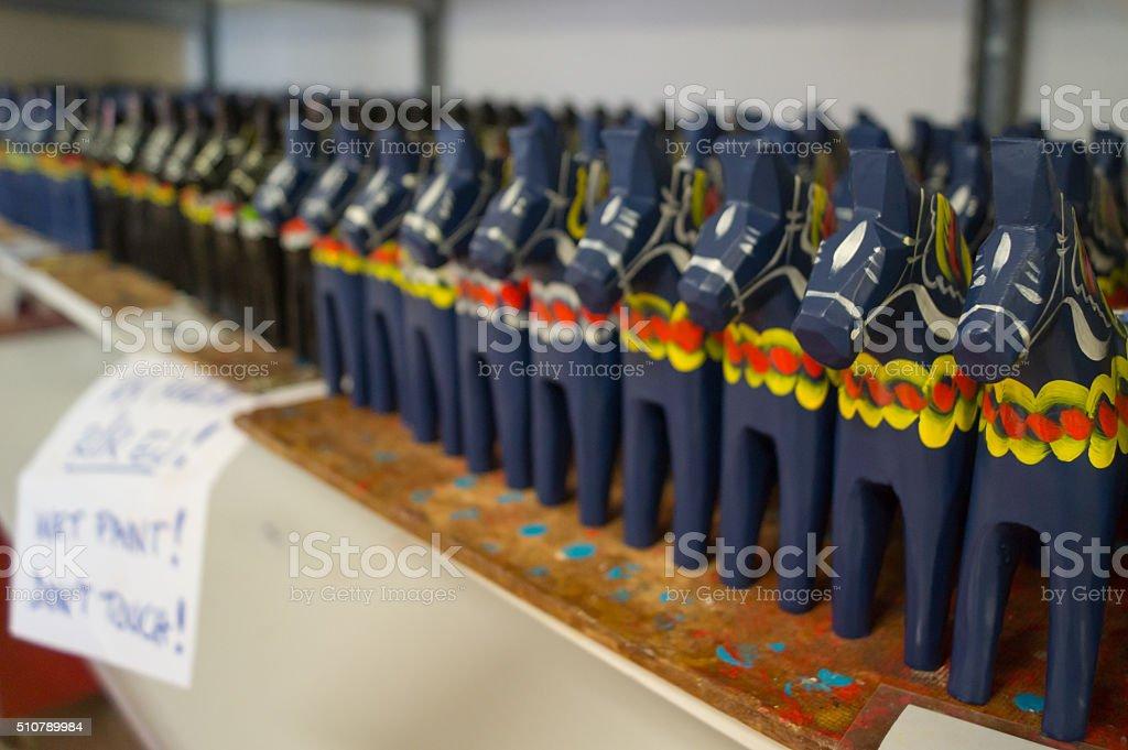 drying Dalecarlian horses stock photo