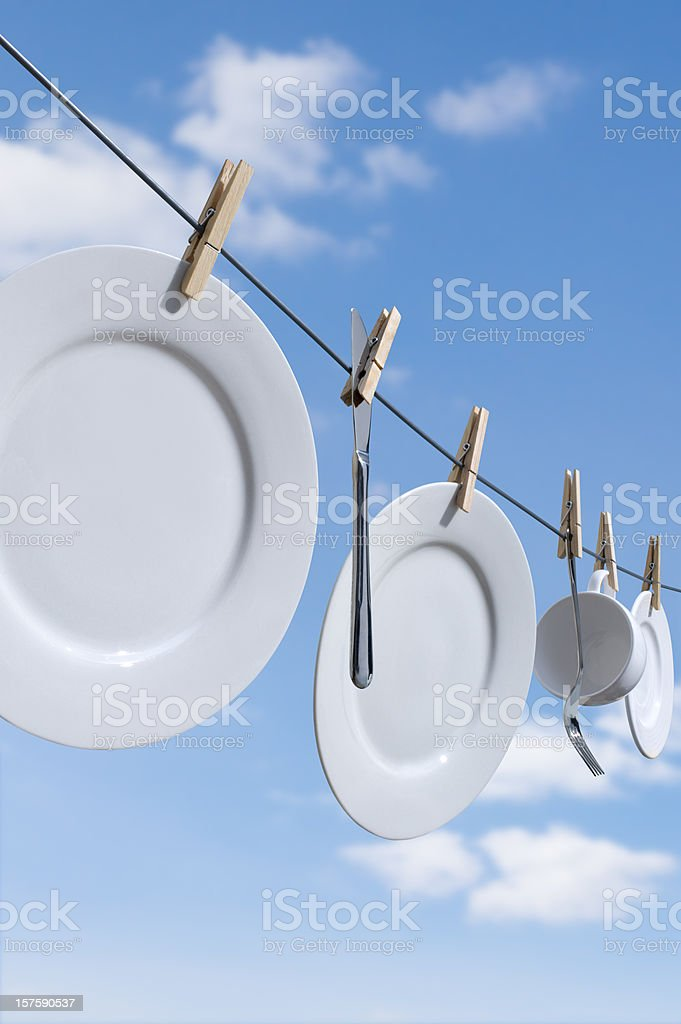 Drying Dishes royalty-free stock photo