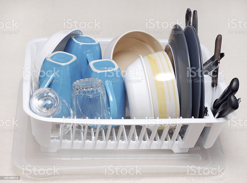 Drying Dishes stock photo