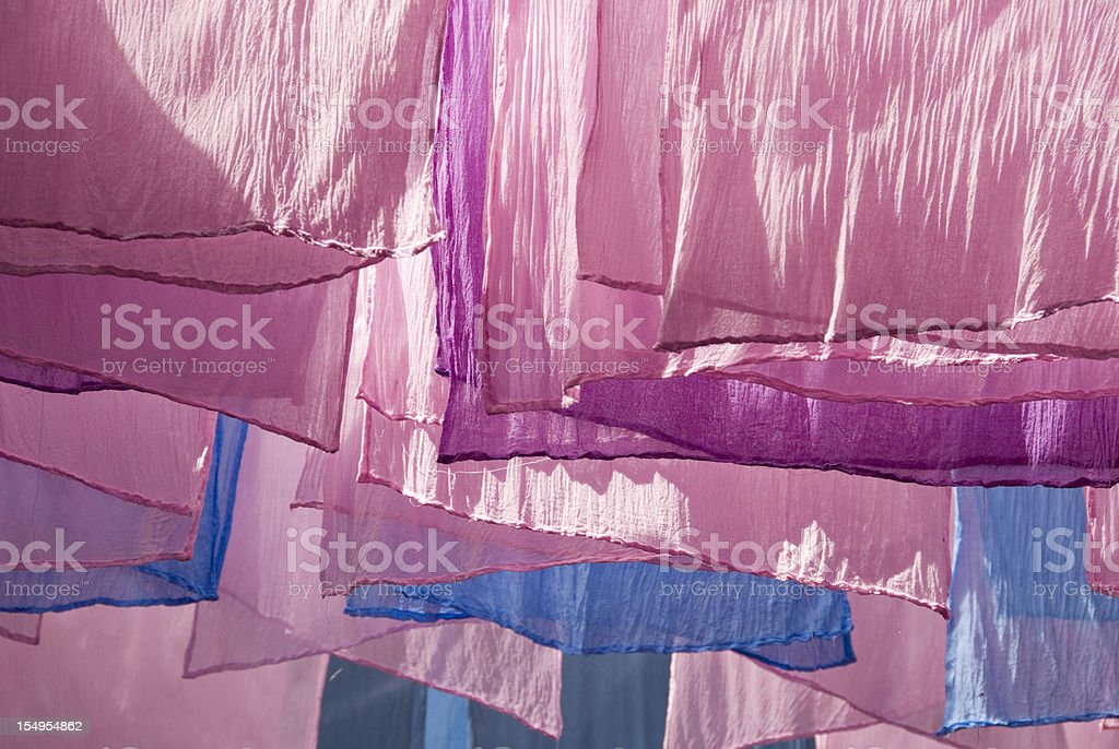 Drying Dyed Fabrics royalty-free stock photo