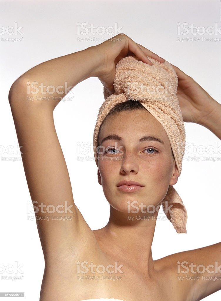 drying hair stock photo