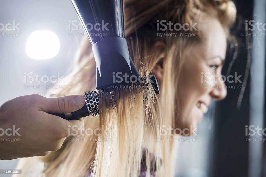 Drying hair. stock photo
