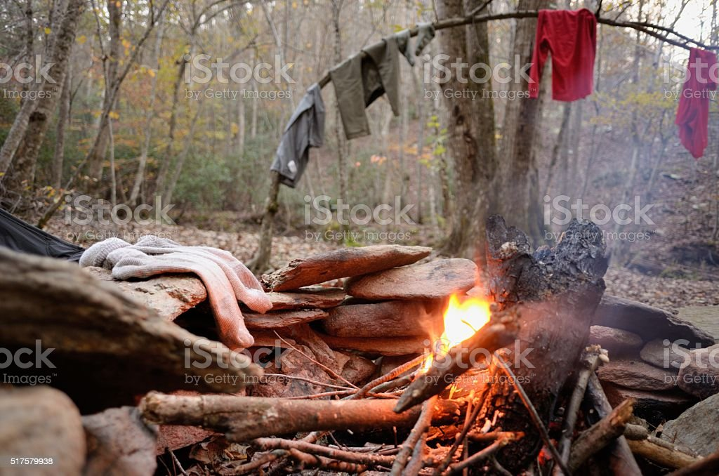Drying hiking clothes stock photo