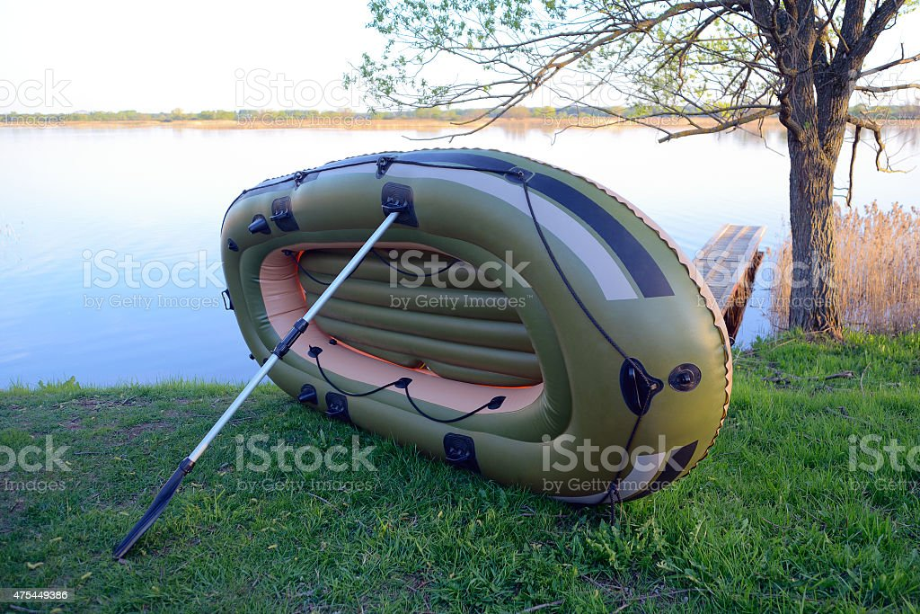 Drying inflatable boat stock photo