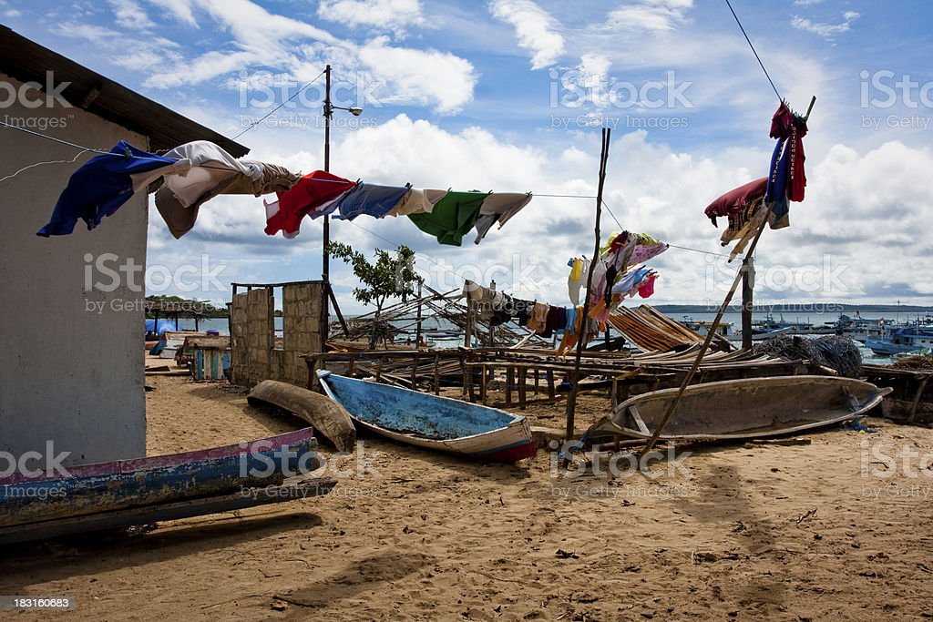 Drying laundry in the sunshine. stock photo