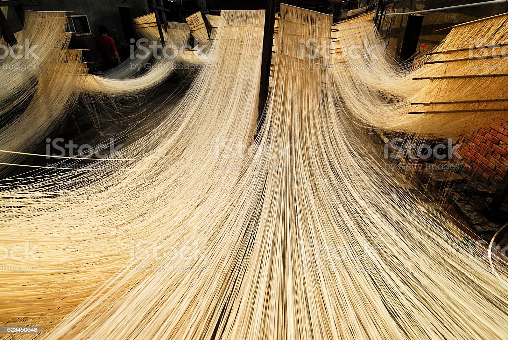 Drying noodles stock photo