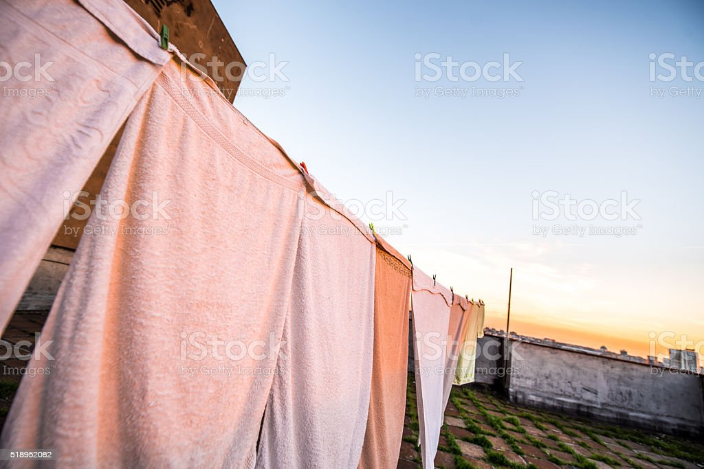 Drying on the roof stock photo