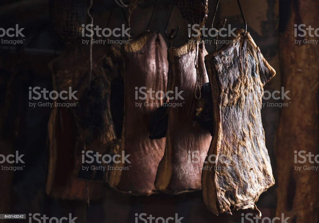 Drying pork meat, domestic style in Balkan stock photo