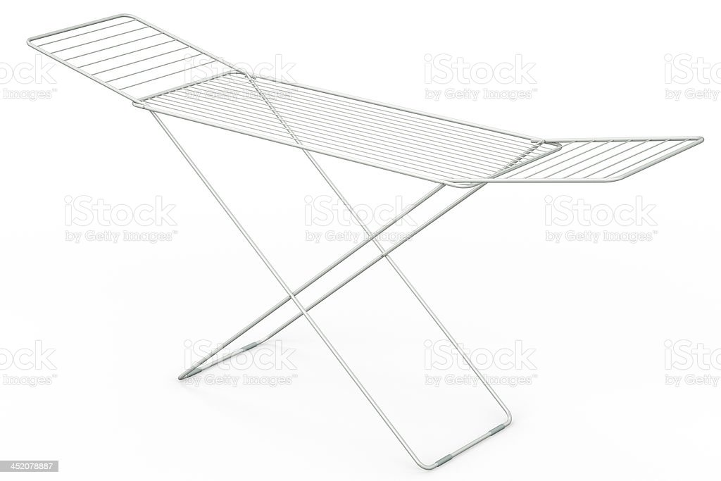 Drying rack on a white background, 3D illustration stock photo