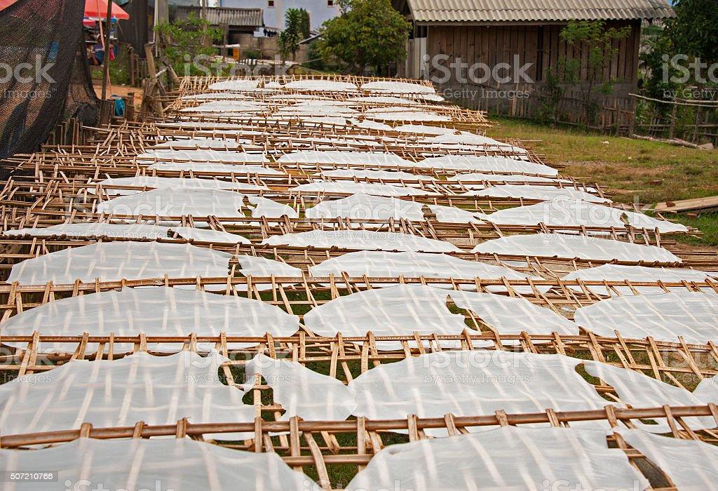 Drying Rice Paper. stock photo