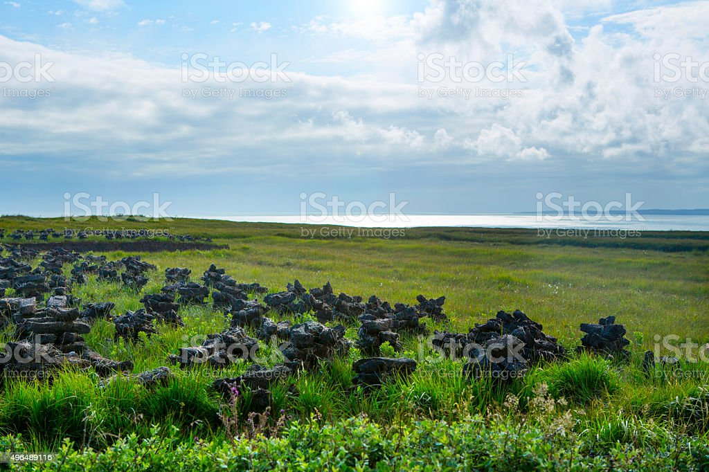 Drying the Peat on Islay stock photo