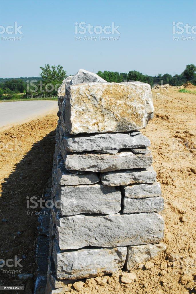 Drystone Masonry Wall stock photo
