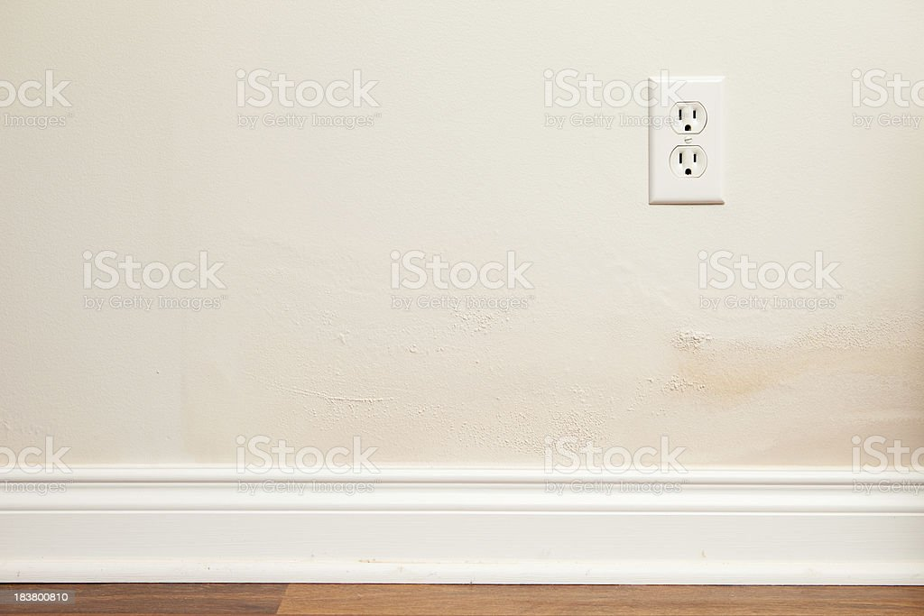 Drywall and Paint with Water Damage Inside Home stock photo