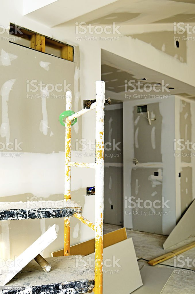 Drywall and Scaffolding stock photo