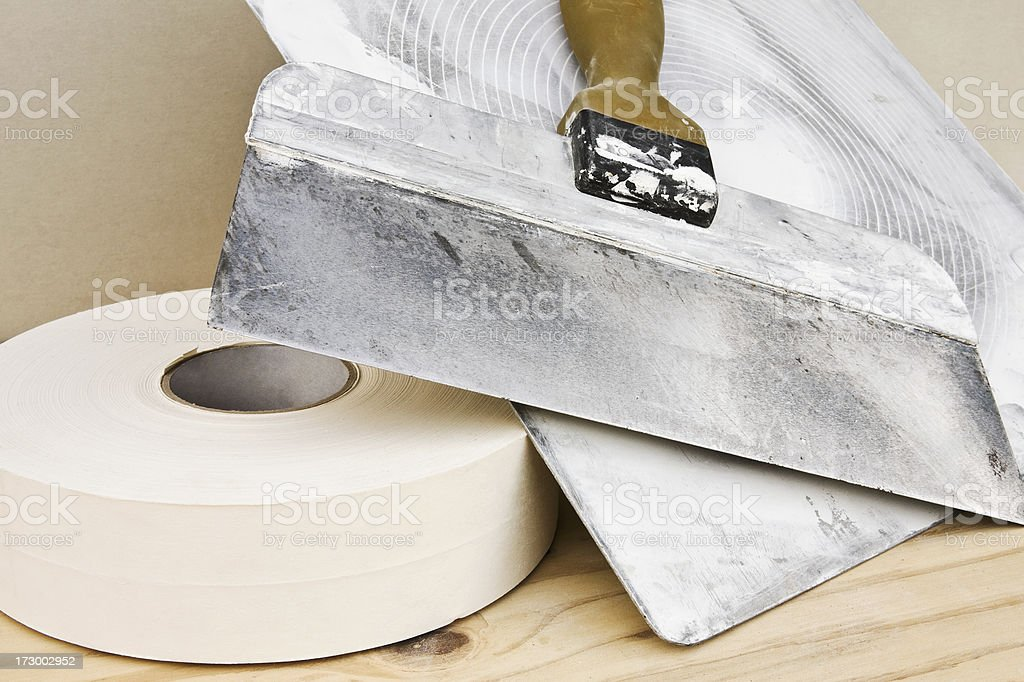 Drywall Hawk, Knife and Joint Tape stock photo