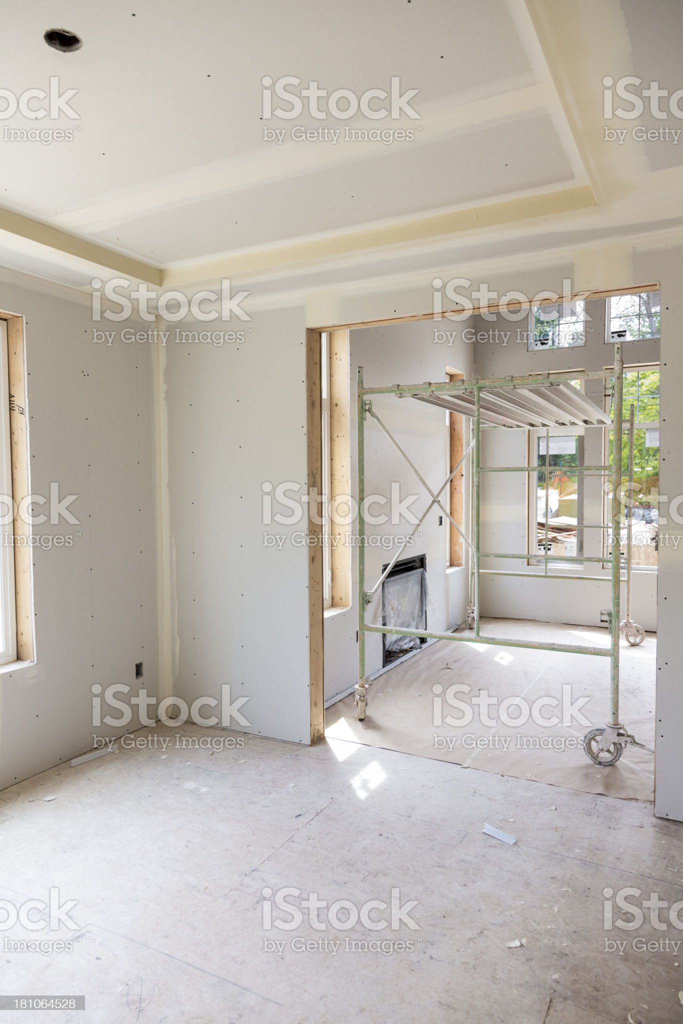 Drywall installation in a new home contruction royalty-free stock photo