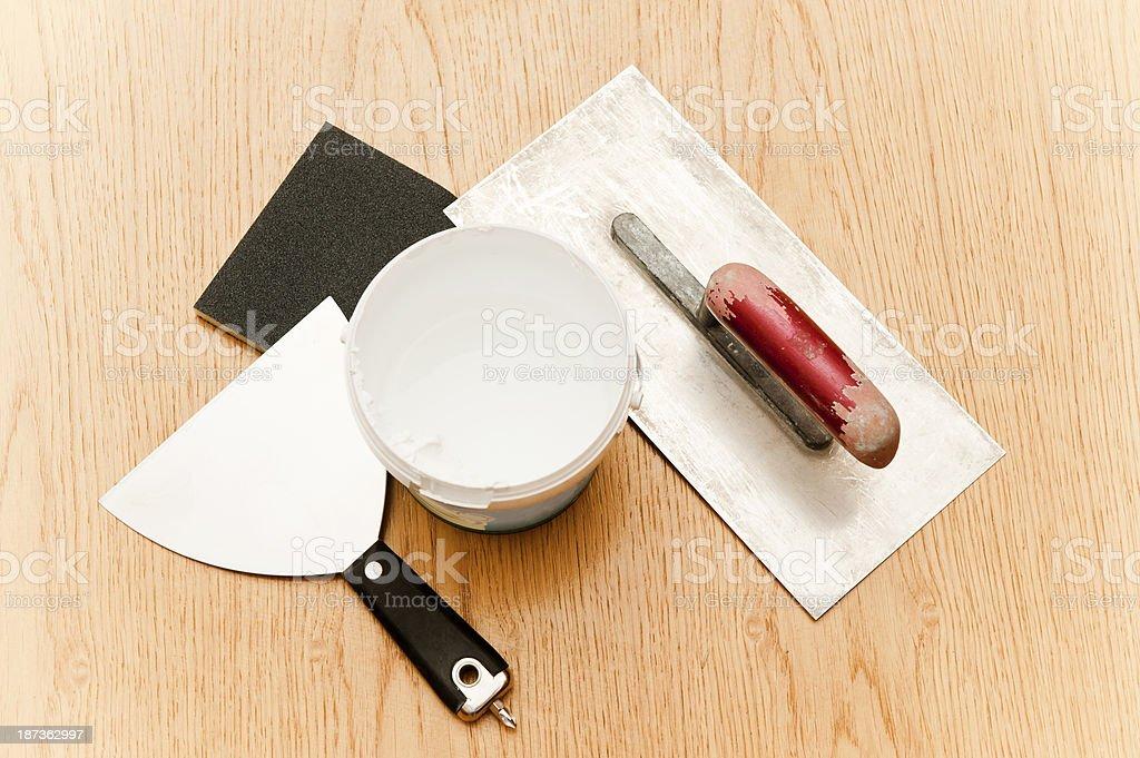 Drywall Repair, Hand Tool stock photo