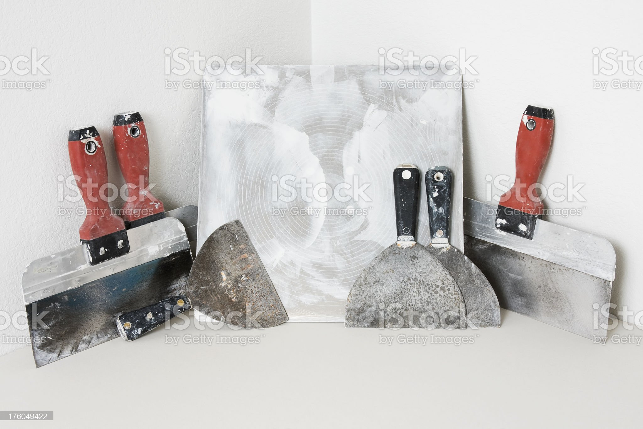 Drywall Tools in a Corner royalty-free stock photo